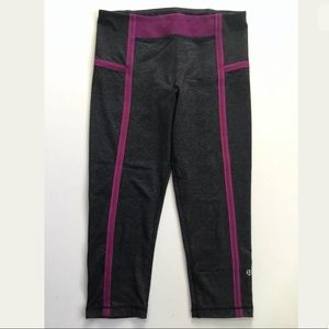 Lululemon Active Crop Capri Gray Purple Leggings